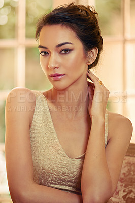 Buy stock photo Portrait of a beautiful young woman dressed elegantly in her home