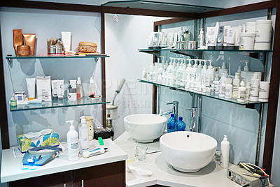 Buy stock photo A shelf of beauty products in a spa