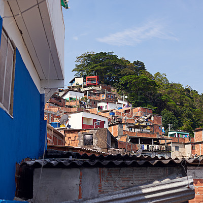 Buy stock photo Shot of slums on a mountainside in Rio de Janeiro, Brazil