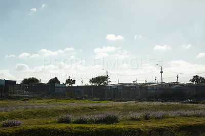 Buy stock photo Shot of an informal settlement in Cape Town