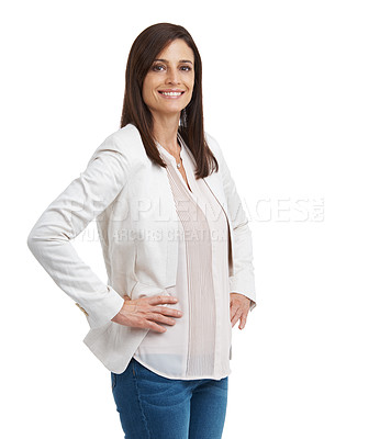 Buy stock photo Cropped studio portrait of an attractive mature woman isolated on white
