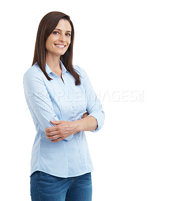 Buy stock photo Studio portrait of an attractive mature woman standing with her arms crossed