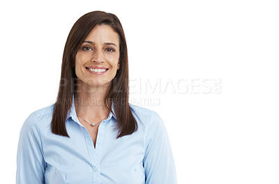 Buy stock photo Cropped studio portrait of a confident mature woman isolated on white