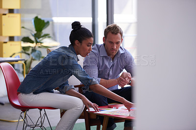 Buy stock photo Cropped shot of young designers working together in their office