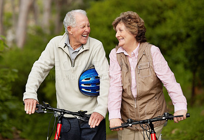 Buy stock photo Portrait of a cheerful mature couple with bicycle in countryside
