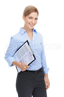Buy stock photo Studio shot of a beautiful young businesswoman holding a clipboard against a white background