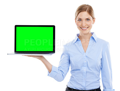 Buy stock photo Studio shot of a beautiful young businesswoman holding a laptop with a chroma key screen against a white background