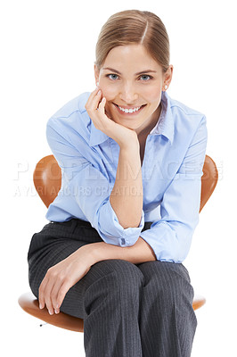 Buy stock photo Studio shot of a beautiful young businesswoman sitting on an office chair against a white background