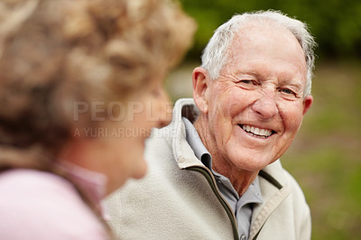 Buy stock photo Portrait of a happy mature man with a senior woman smiling