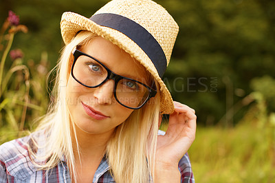 Buy stock photo Portrait of a beautiful hipster in a field