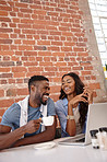 Sharing a laugh and a coffee