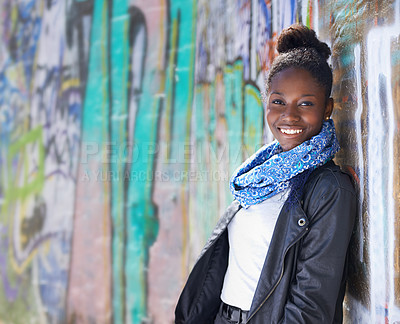 Buy stock photo Portrait of a young woman standing outside