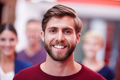 Buy stock photo Cropped portrait of a smiling young creative professional in the office