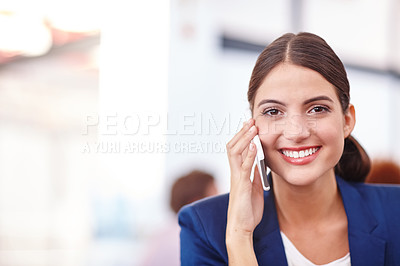 Buy stock photo Cropped portrait of an attractive young businesswoman talking on her cellphone