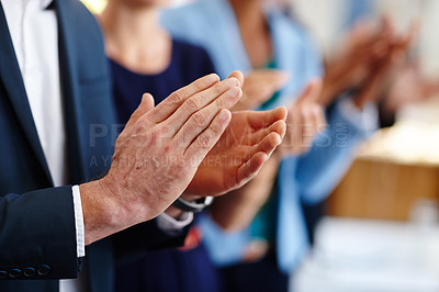 Buy stock photo Cropped shot of business professionals applauding a presentation at a conference