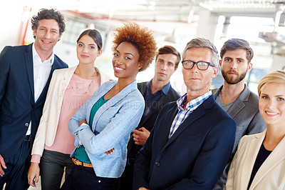 Buy stock photo Cropped portrait of a group of business professionals in the workplace
