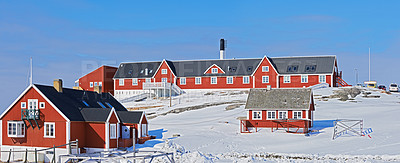 Buy stock photo A photo of the public hospital in Ilulissat, Greenland