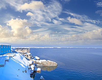 Buy stock photo Icebergs at Ilulissat, Greenland.  Summer in Greenland. Deep-water fjords of the Western coast.