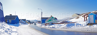 Buy stock photo The city of Ilulissat, Greenland, Denmark. The month of May