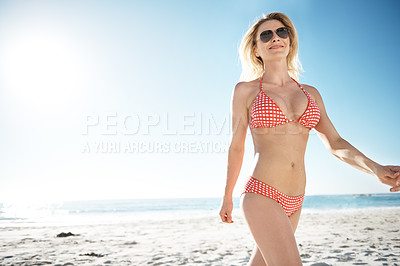 Buy stock photo A gorgeous young blonde woman enjoying summer on the beach