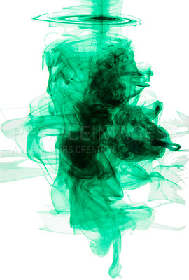 Buy stock photo Studio shot of green ink in water against a white background