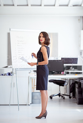 Buy stock photo Portrait of a businesswoman at standing in an office
