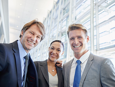 Buy stock photo Portrait of a group of happy business colleagues standing together in the office