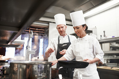 Buy stock photo Shot of the inner working of a professional kitchen