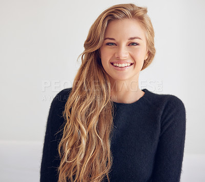 Buy stock photo Portrait of a beautiful young woman