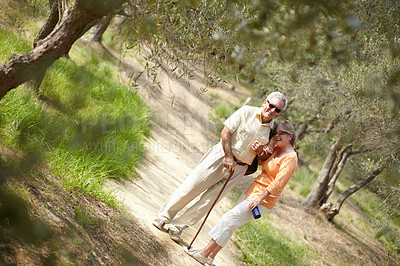 Buy stock photo A senior couple walking together along a forest trail