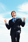 Victory- Successful business man with clenched fist against sky
