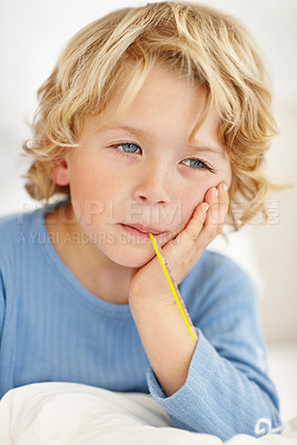 Buy stock photo Closeup portrait of an ill boy with thermometer in his mouth