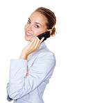 Happy female business executive talking over phone on white