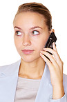 Closeup of a cute business woman using a mobile on white