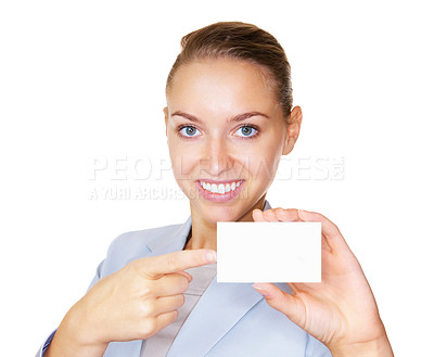 Buy stock photo Smiling business woman pointing out at a blank placard , isolated on white