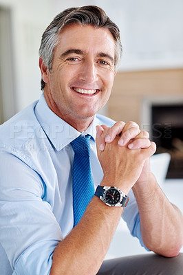 Buy stock photo Portrait of a smiling mature businessman