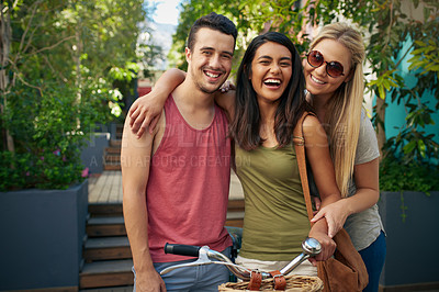 Buy stock photo Shot of friends spending time together outdoors