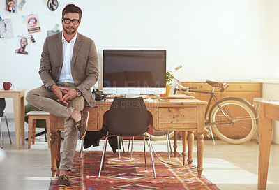 Buy stock photo Portrait of a young male designer in his modern office