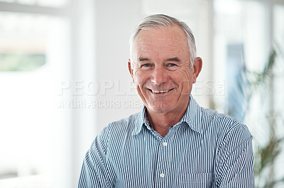 Buy stock photo Cropped portrait of a happy senior man at home