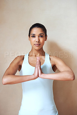 Buy stock photo Portrait of a young woman doing yoga indoors