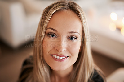 Buy stock photo Portrait of a young woman relaxing at home