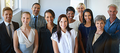 Buy stock photo Portrait of a diverse group of businesspeople in the office