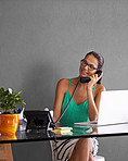 Managing her business from home
