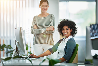 Buy stock photo Portrait of designers working together at a workstation in an office