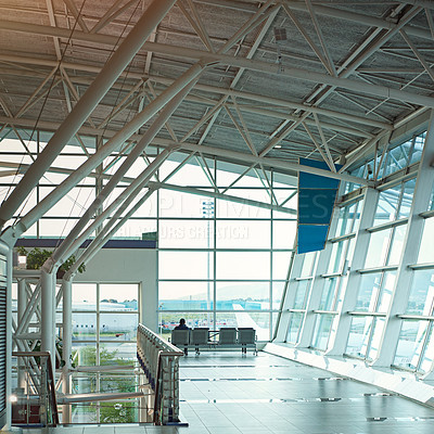 Buy stock photo Shot of the interior of an airport