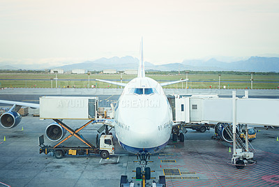 Buy stock photo Shot of an airplane at an airport