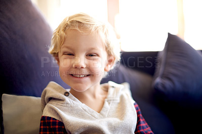 Buy stock photo Cropped portrait of a smiling little boy at home
