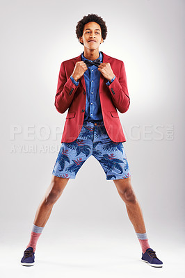 Buy stock photo Studio shot of a stylishly dressed young man