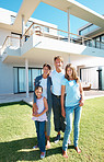Blissful family and their lavish home