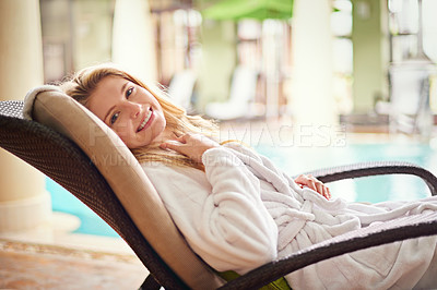 Buy stock photo Shot of a young woman enjoying a relaxing day at the spa